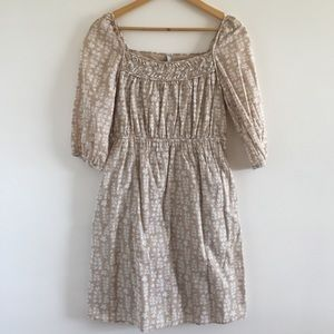 Old Navy Tan and White Floral Print Dress - Size S